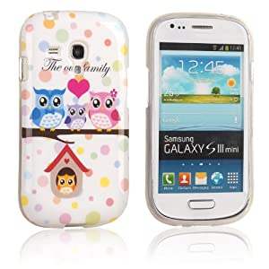 tinxi® Silikon Hülle für Samsung Galaxy S3 mini i8190 Case Tasche Schutzhülle cover Familie süß Eule Owl
