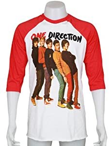 One Direction 1d Uk Boy Band Size Medium Two Tone White Red 34 Sleeve Raglan Music Unisex Tee T-shirt from Smock