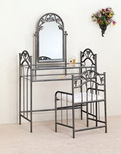 Nickel Bronze Finish Metal Vanity Table Stool & Mirror Set