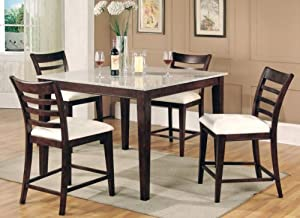 Height Dining Table Collection Granite Top 5 Piece Set Home Kitchen
