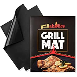 Grillaholics Grill Mat - Set of 2 Nonstick BBQ Grilling Mats - 15.75 x 13-Inch