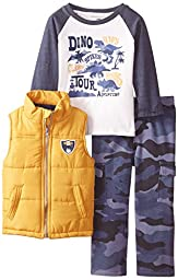 Kids Headquarters Little Boys\' Vest with Tee and Camo Pants,Assorted,6