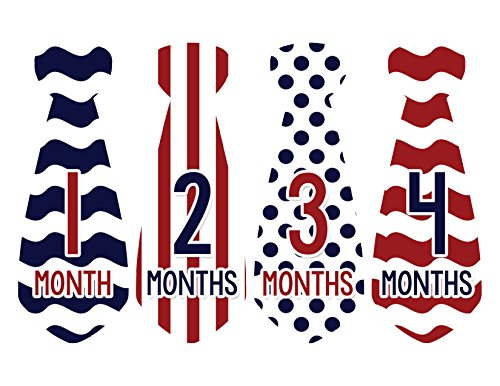 Months in Motion 733 Monthly Baby Stickers Necktie Tie Baby Boy Months 1-12 - 1