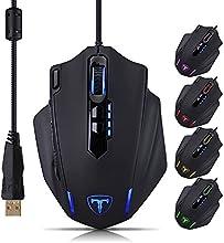 VicTsing ET Thunderbird Gaming Maus Wired Optische USB Maus Mäuse (4000 dpi, 1000 Hz, 11 programmierbare Tasten) für Pro Gamer & Office - Schwarz