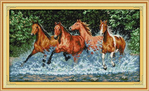 Happy Forever Cross Stitch, animal, horses running on the sea wave (Horse Cross Stitch Charts compare prices)