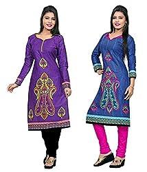 Nakoda Women's Cotton Dress Material (1003-1004_Multicolored)