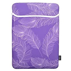 Case Star ' Feather Series Soft Neoprene Laptop Notebook Ultrabook Sleeve Carrying Case Bag for Macbook Pro A1398 15-Inch / 15.6 Inch HP Pavilion Lenovo (Purple Color with White Feather - 15 Inch)
