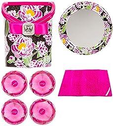 Locker Lookz Pink Peony Bin and Mirror plus Pink Gem Magnets and Fur Rug Bundle