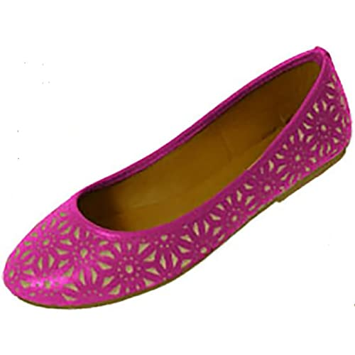 Womens Perforated Ballerina Ballet Flats Shoes W/Contrast Color Underlay