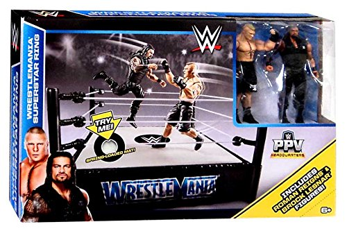 WWE Wrestlemania 31 Superstar Ring Playset With Roman Reigns and Brock Lesnar Action Figures (Wwe Ring Playset compare prices)