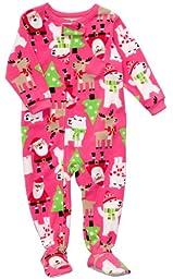 Carter\'s Infant Santa Fleece Footed Sleeper - Santa Theme-12 Months
