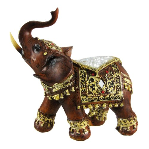 Gorgeous Wood Finish Indian Elephant Statue Crackle Glass front-904865