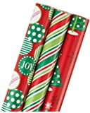American Greetings Christmas Wrapping Paper, Colorful Stripes, Dots & Trees, 3-Roll Pack (068981161660)