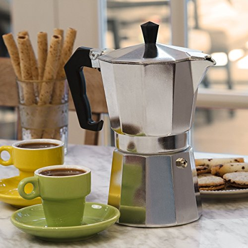 Primula Aluminum Espresso Maker - Aluminum - For Bold, Full Body Espresso - Easy to Use - Makes 6 Cups