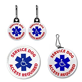 SERVICE DOG ACCESS REQUIRED Medical Alert Patch Tag Zipper Pull Charms