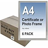 Box of 6 A4 Plain Silver Photo Picture Certificate Frame Wall & Desk Mountable
