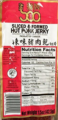 SOO 1.5oz  Sliced & Formed Hot Pork Jerky, Pack of 1