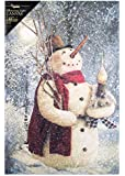 "Ohio Wholesale Woodland Snowman Lighted Canvas 16.625"" x 11"""