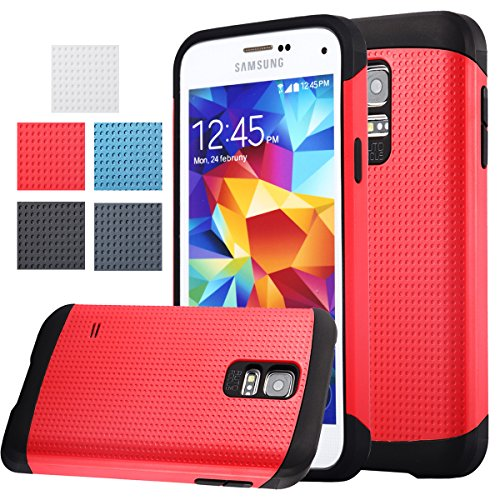 AnoKe? Armor Galaxy S5 Mini Armor dual layer bumper case TPU PC hybrid protective case for Samsung Galaxy S5 Mini ,SM-G800, S5 Mini (Armor Red) (Doctor Who Samsung S5 Mini Case compare prices)