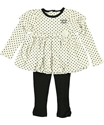 Calvin Klein Infant Girls Black Polka Dot 2Pc Layette Legging Set (18M)