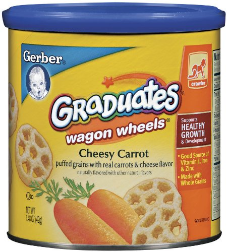 Gerber Graduates Finger Foods Canister, Carrot Wagon Wheels, 1.48-Ounce Canisters (Pack of 6)