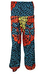 Indiatrendzs Women's Harem Pants Orange Blue Hip Hop Trouser