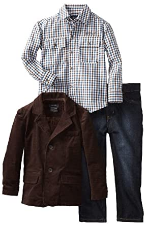Kenneth Cole Little Boys' Toddler Blazer with Shirt and Jean, Brown, 2T