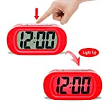 ZHPUAT Colorful Light Digital Alarm Clock with Snooze, Simple Setting, Progressive Alarm, Battery Operated, Shockproof, The Ideal Gift Clock For Kids & Convenient for Travel (Red)