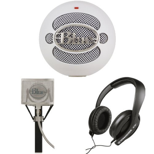Blue Microphones Snowball Usb Microphone (White) With Blue Mics Pop Filter And Sennheiser Hd 202 Ii Professional Headphones