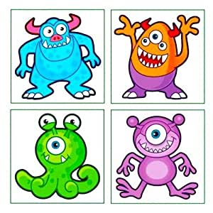 Monster Tattoos, 24 supplied - Great Party Loot Bag Fillers
