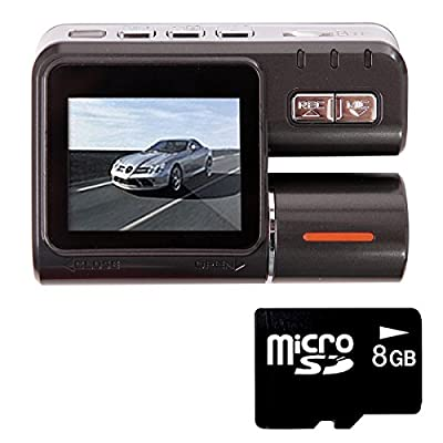 HDE Dual Lens Dashboard Car DVR Dash Cam and Rear View Camera Accident Recording System with Motion Detection/G-Sensor + 8GB Micro SD Card