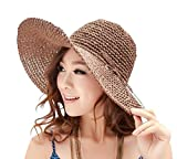 レディース 紫外線 対策 UPF50+ 対応 麦わら 帽子 天然 素材 小顔 効果 e-4
