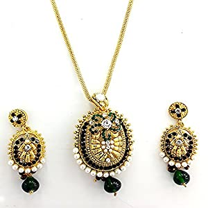 Gold plated,purple,green and white pearl and crystal stone studded chain pendent set by seasons4 CH10A521 available at Amazon for Rs.449