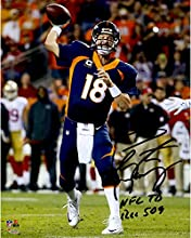 "Peyton Manning Denver Broncos Becomes NFL All-Time Touchdown Passing Record Leader Autographed 8"" X 10"" Photograph with ""NFL TD REC 509"" Inscription - Fanatics Authentic Certified"