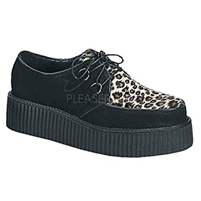 2 inch Platform Black Suede Cheetah Fur Creeper Shoe Black Suede-Cheetah Fur