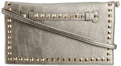 SwankySwans Womens Metal Stud Detail Clutch Bag 14-1378 Grey