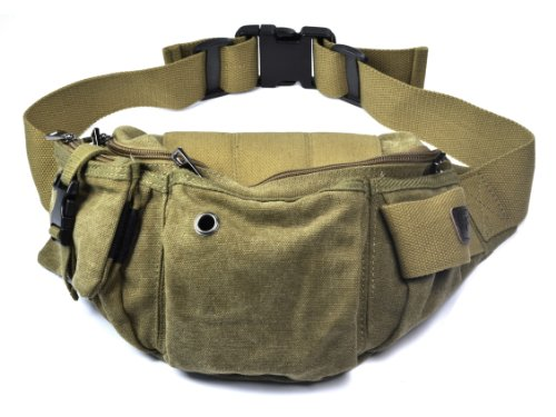 Case Star Case Star ® Military Canvas Multi-functional Tactical Waist Fanny Bag/Pack for Hiking Traveling with Case Star Velvet Bag (RSH1314-LBR)