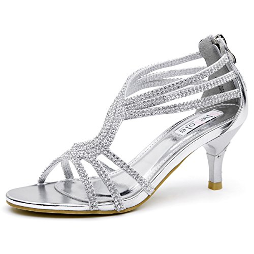 SheSole Womens Metallic Low Heels Sandals Rhinestones Evening Bridal Party Dance Shoes Silver US 8(One Size Smaller)