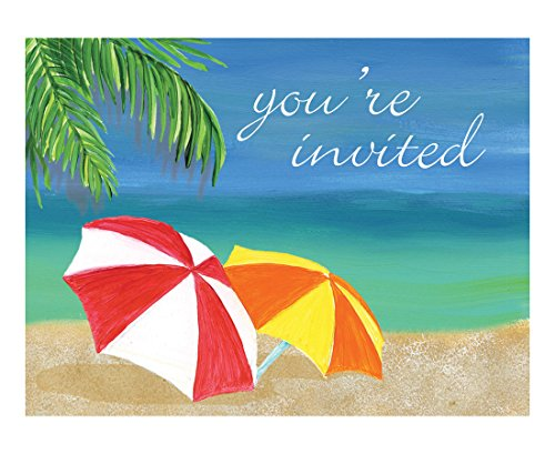 Creative Converting 8 Count Invitation Cards, Tropical Vacation