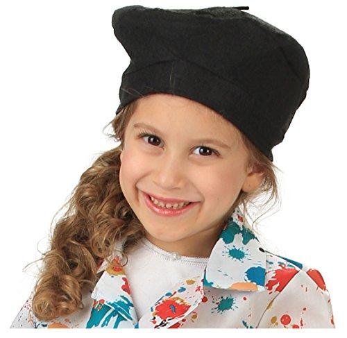 French Felt Beret Hat Black - Child Size - 1