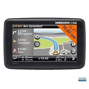 Medion GoPal E4270 EU+ Navigationsgerät (10,9 cm (4,3 Zoll) Touchscreen, SiRFatlasV 664Hz, 4GB interner Speicher, NAVTEQ Traffic, Kartenmaterial für West- und Osteuropa)