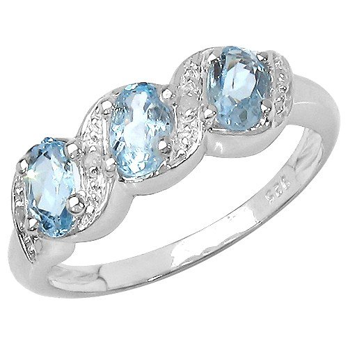 The Blue Topaz Ring Collection: Ladies 925 Sterling Silver Blue Topaz & Diamond Engagement Ring (Size L)
