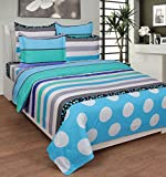 BeautifulHOMES Gorgeous Cotton Double Bedsheet With 2 Pillow Cover - Light Blue and Grey