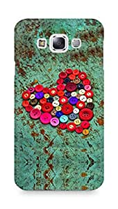 Amez designer printed 3d premium high quality back case cover for Samsung Galaxy E7 (Red heart colorful buttons)