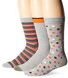 Diesel Men\'s 3 Pack Ray Crew Socks, Grey, 10-13/Shoe Size 6-12
