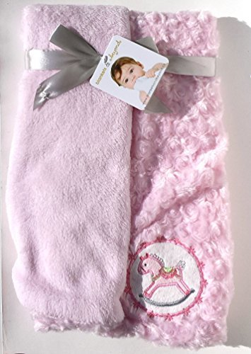 Blankets & Beyond Soft Pink Swirl Rocking Horse Reversible Baby Blanket
