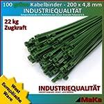 200 Stck Kabelbinder gr�n 200 x 4,8 m...