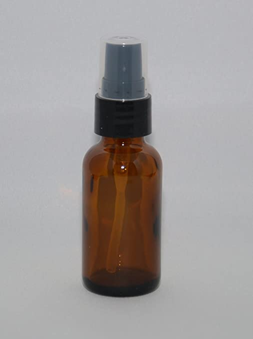 2 oz Amber Boston Round Glass Bottle with Fine Mist sprayer 6/bx