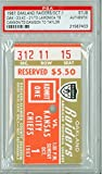 1967 Oakland Raiders Ticket Stub vs Kansas City Chiefs TD: Lamonica to Cannon TD: Dawson to Taylor - Raiders 23-21 October 1, 1967 PSA/DNA Authentic Oct 1 1967 [Grades Clean NMT; Punch Cxl]