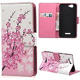 Coloré Motif PU Cuir portefeuille Housse Etui pour Wiko Rainbow 4G Case Coque Effacer Protection Flip Cover avec carte de crédit Slots (37#)